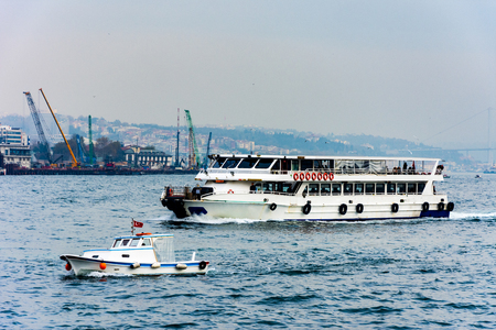 ships on the Marmara sea and urban part of Istanbul city in the background