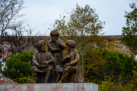 Statue of the ottoman sultans in the Fatih in Istanbu on 22 November 2017