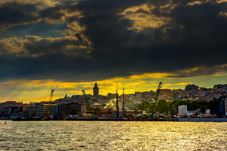 The sunset above the Karakoy part of the city of Istanbul in Turkey