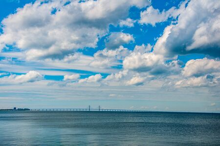 Oresund bridge joining capital city of Denmark Copenhagen and Swedish city Malmo