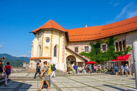 inside of the Bled Castle in Slovenia on 27 July 2019 on the suny day Redactioneel