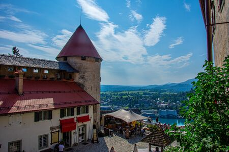 Inside of the Bled Castle in Slovenia on 27 July 2019 During the suny day