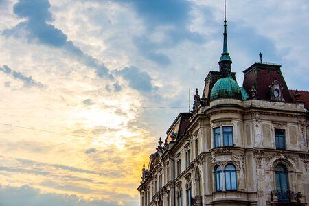Old buildings in the city of Ljubljana in Slovenia during sunrise