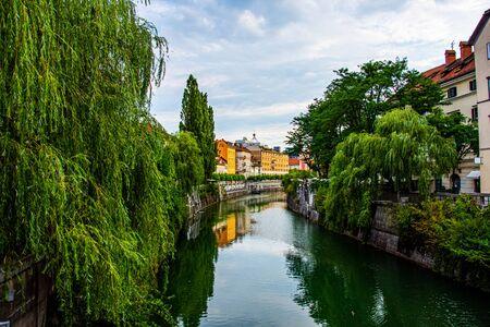 View to the River Ljubljanica in Ljubljana Slovenia 版權商用圖片