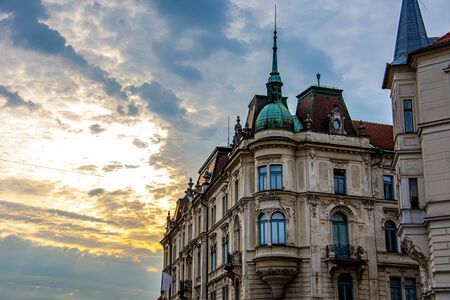 Old buildings in the city of Ljubljana during sunrise