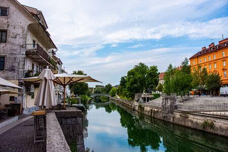 Beautiful view to the river Ljubljanica in Ljubljana capital of Slovenia