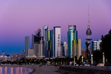 Beautiful landscape of Shuwaikh beach in city of Kuwait during while people are enjoying outside