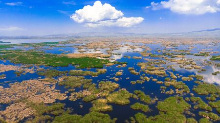 Drone view to the beautiful natural lake Eber golu in Afyon province in Turkey