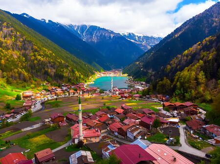 Aerial view to the Uzungol lake famous tourist destination in summer in city of Trabzon Turkey