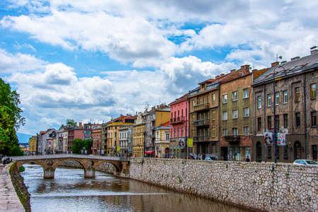 Beautiful landscape of Famous Latin bridge in center of Sarajevo capital city of Bosnia and Herzegovina 2019.06.24 Editorial