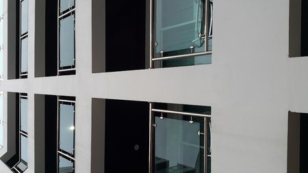 Balcony of building.