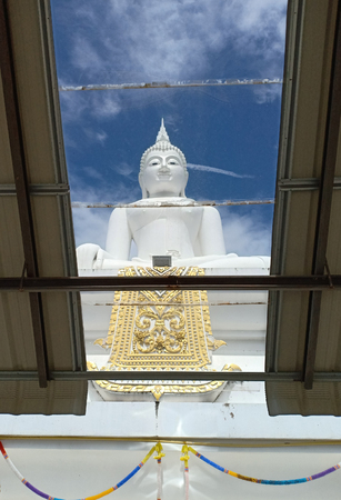 Buddha statue Looking through transparent roof.
