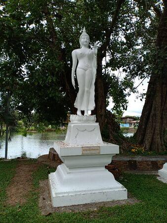 Sukhothai, Thailand, Aug 11th, 2018, Standing Buddha image.