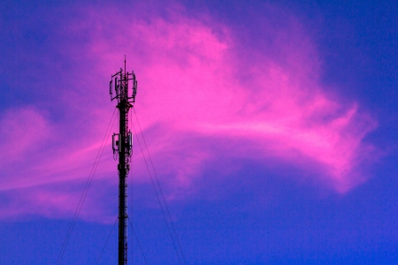 telephone poles: Telephone poles with pink clouds in the evening