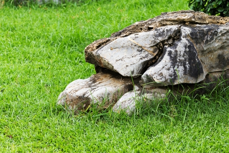 gruff: rock  placed on the green grass in the park