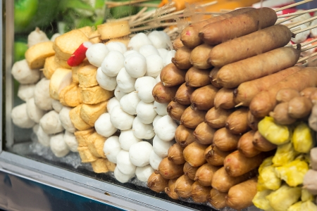 Hot dogs and meatballs in a glass cart sales Stock Photo - 25273475