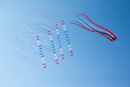 Kites on blue sky in Satun Thailand Festival photo