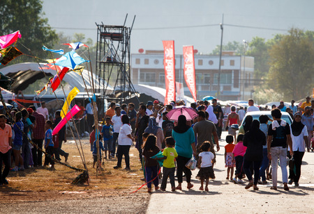 Satun, Thailand - 28 February 2014  Satun Province, together with the Tourism Authority of Thailand  Office Stool Kite Festival 34 and Satun International Kite 2014 between February 28 to 2 มีนาคม 2014 at the RAF airfield canal Satun