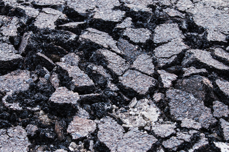 mud pit: Road surface cracks from the running of the car  Stock Photo