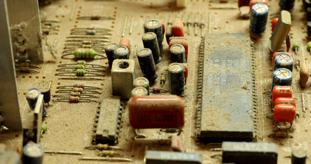 electromagnetism: Dust on the panels circuit board.
