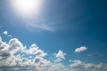 heaven background: White clouds and sun in the skies, Sky background