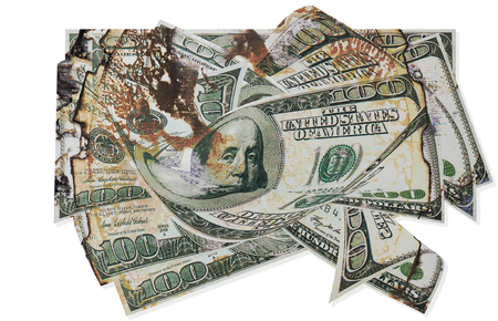 design concept: stack of old  hundred-dollar bills as a background. Stock Photo