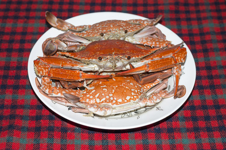 marina life: Boiled red crab on the plate on checkered tablecloths.