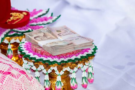 dowry in thai wedding ceremony, tradition wedding ceremony in thailand