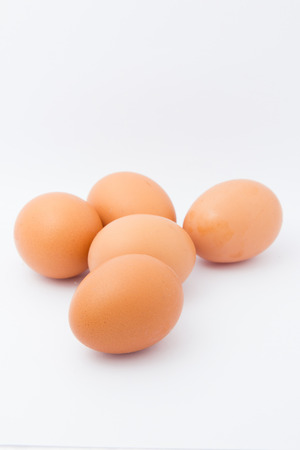 origen animal: Cinco huevos, aislados en un fondo blanco Foto de archivo