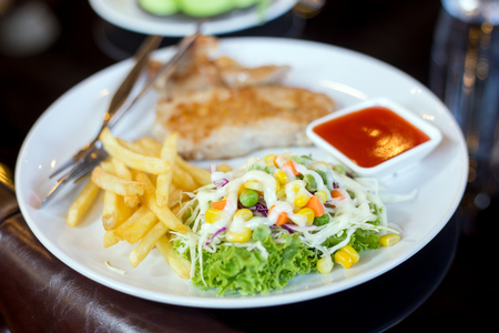 savory: Salad Steak and French fried Stock Photo
