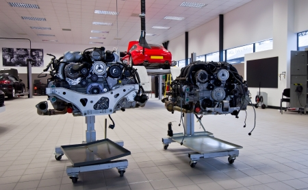 Two engine from porsche inside in workshop photo