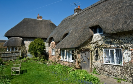 thatched roof: English Village Cottage