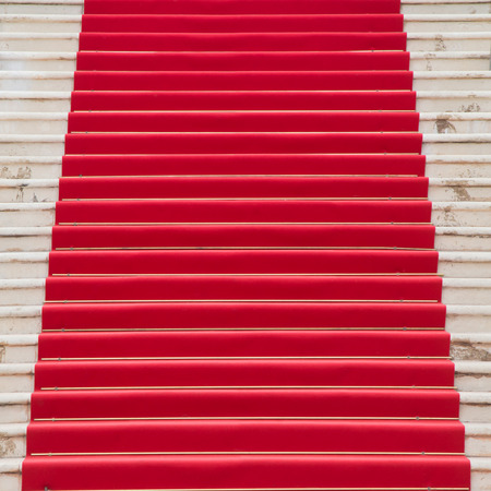 star path: Red carpet on a stairway used to mark the route taken by heads of state, VIPs and celebrities on ceremonial and formal occasions or events