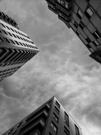black and white Modern, new executive apartment building Stock Photo