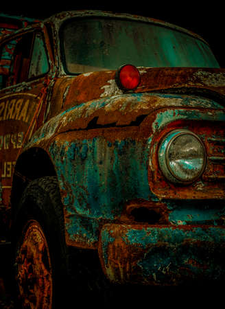 Abandoned Old Rusted Pickup Truck .