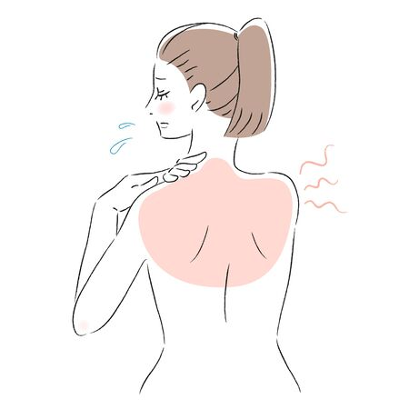 Illustration of a woman with a sunburned back Ilustrace