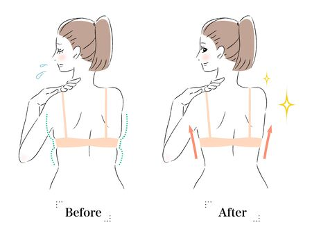 Illustration of a woman with a flabby back before and after