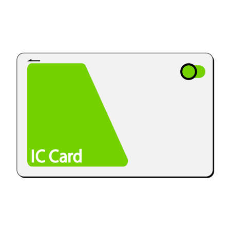 Illustration of ICcard, electronic money, cashless payment, white background
