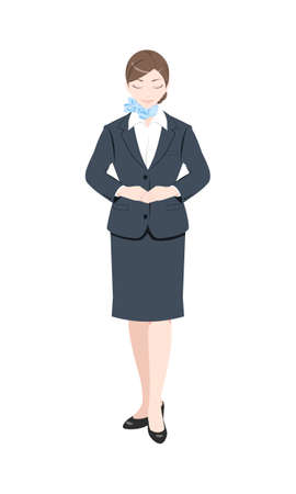 Illustration of a woman bowing, woman in a suit, white background