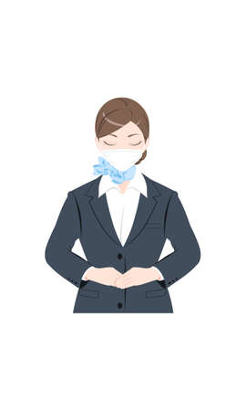 Illustration of a woman bowing, wearing a mask, a woman in a suit, white background