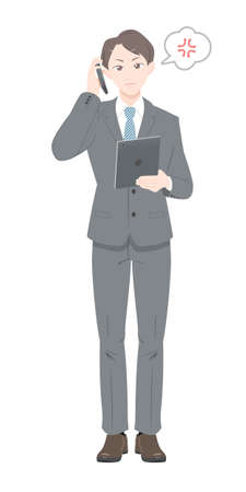 Illustration of a man in a suit getting angry on the phone. White background.