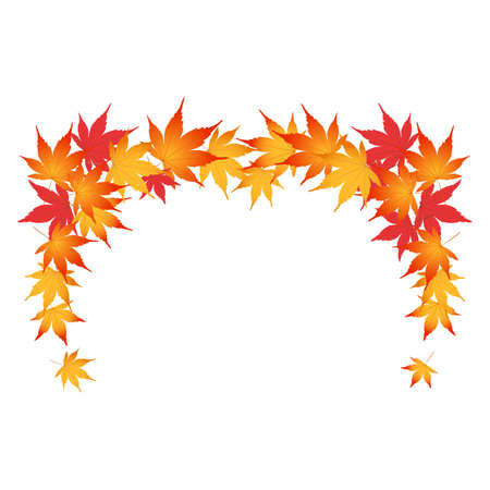 A frame decorated with autumn leaves. Illustration of the frame. Decoration of beautiful colors of leaves. White background. Vektorové ilustrace