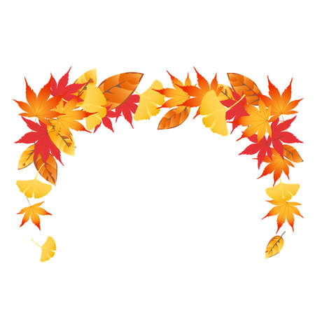 A frame decorated with autumn leaves. Illustration of the frame. Decoration of beautiful colors of leaves. White background.
