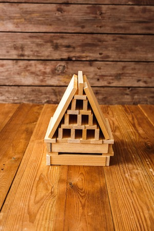 wooden block: Wooden Block House on wooden table