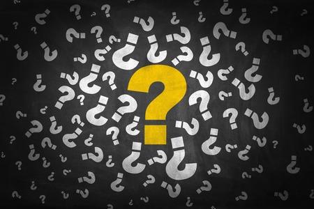 asking question: Question Marks on Blackboard.