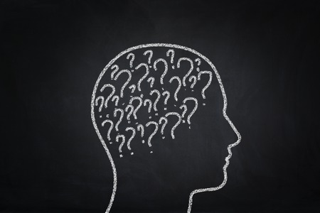 mental confusion: Problems concept on the blackboard. Stock Photo