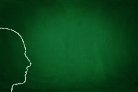 human head: Human head drawing on blackboard