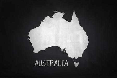 Australia map on blackboard
