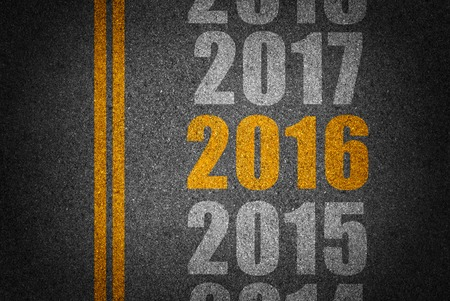 futures: New year and future on asphalt.