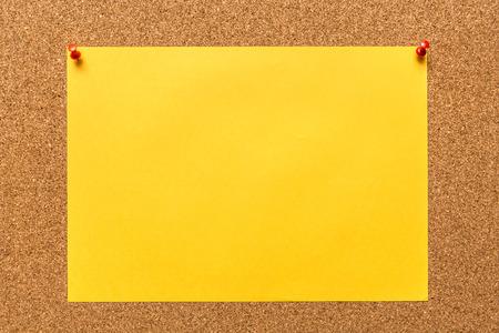 billboard posting: Paper note on corkboard. Stock Photo